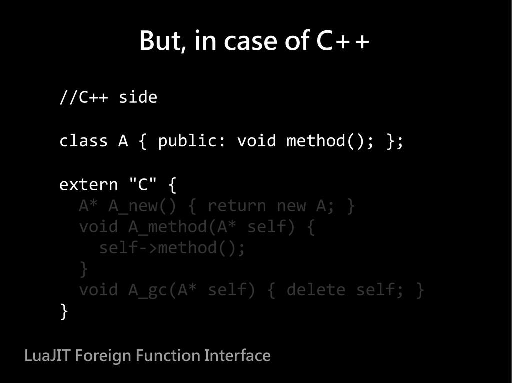 //C++ side class A { public: void method(); }; ...