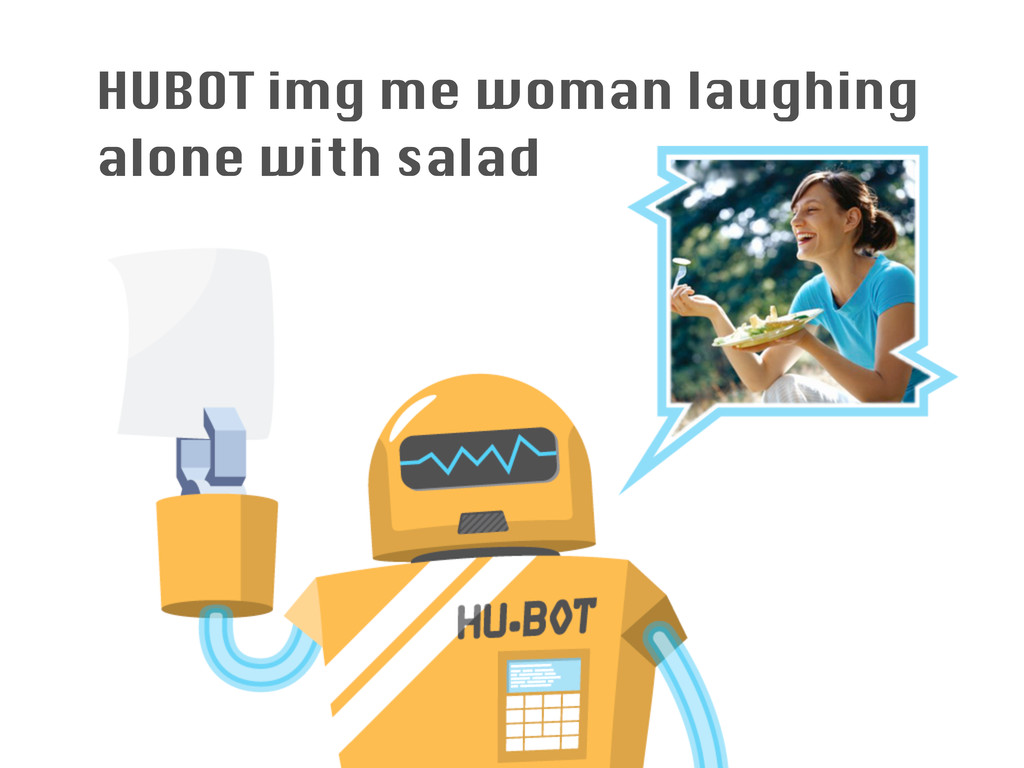 HUBOT img me woman laughing alone with salad