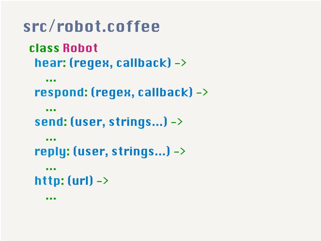 class Robot hear: (regex, callback) -> ... resp...