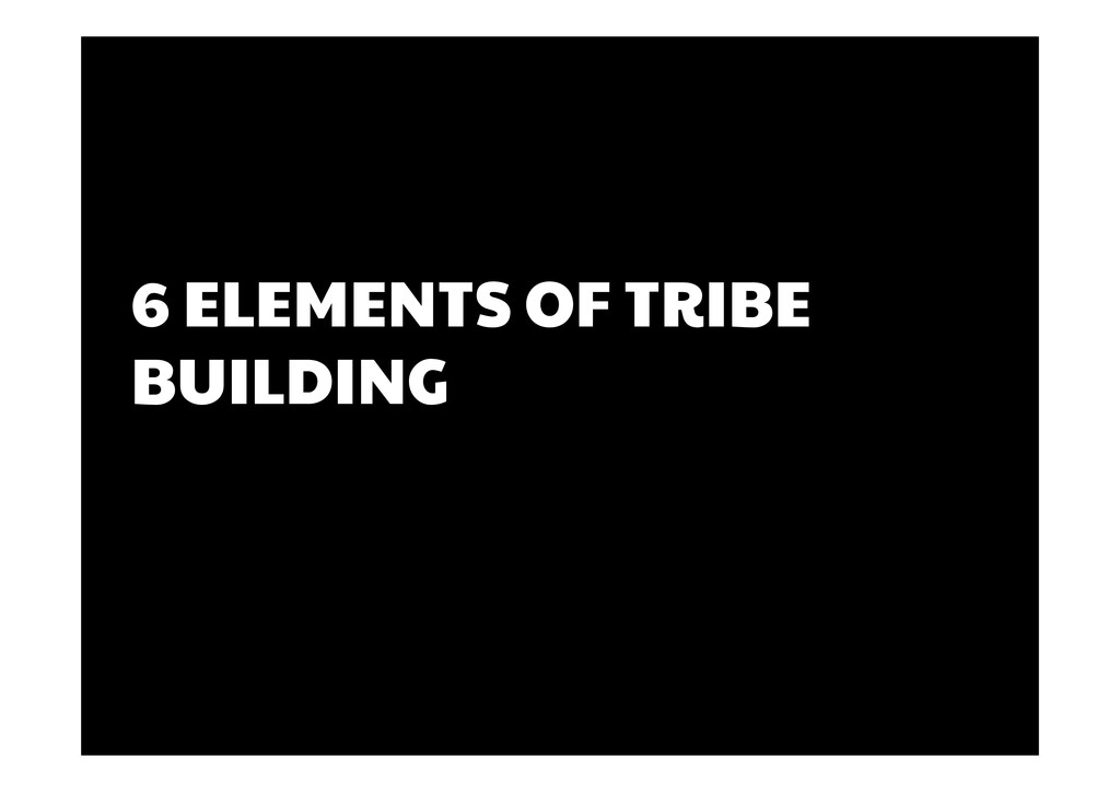 6 ELEMENTS OF TRIBE BUILDING