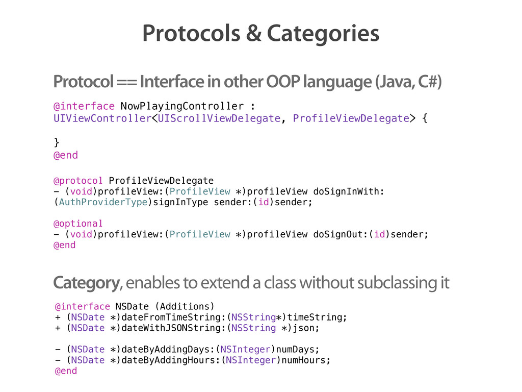 Protocols & Categories @interface NowPlayingCon...