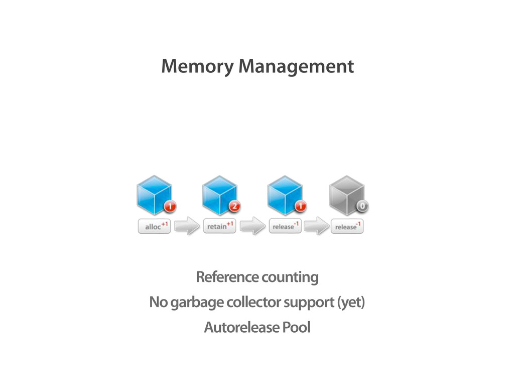 Reference counting No garbage collector support...
