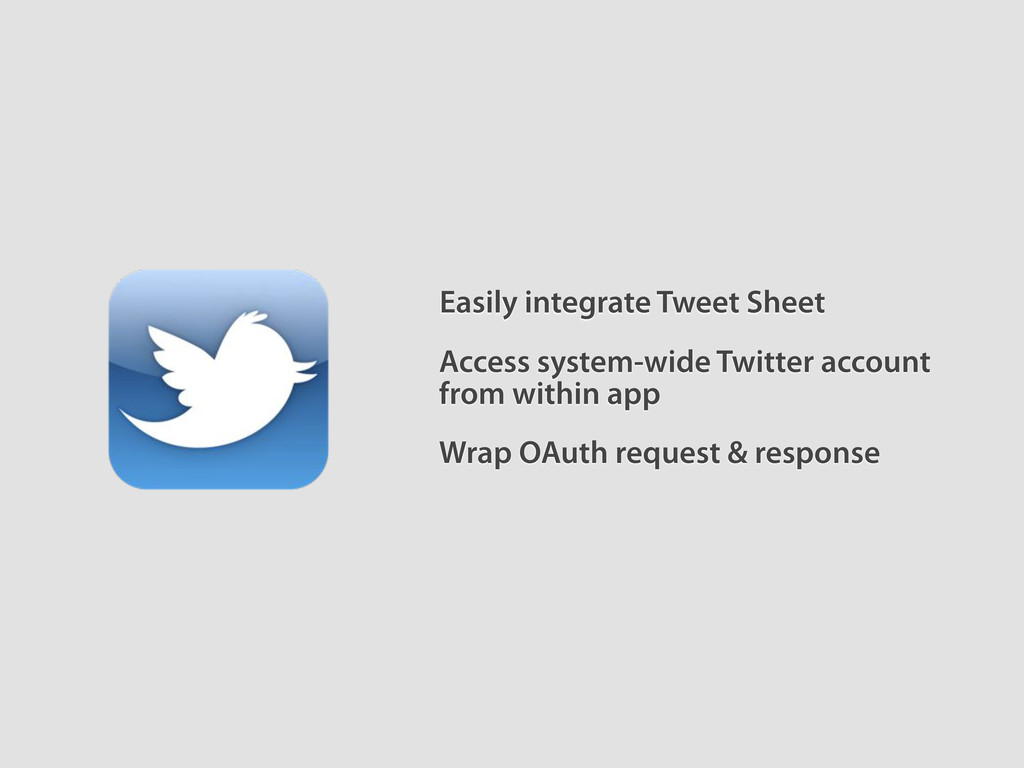 Easily integrate Tweet Sheet Access system-wide...
