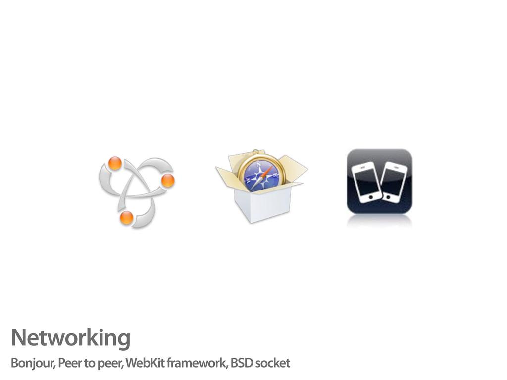 Networking Bonjour, Peer to peer, WebKit framew...