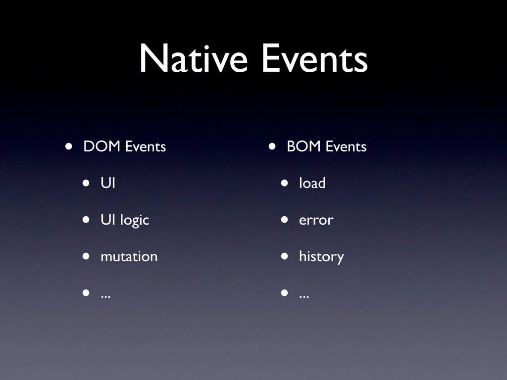 Native Events • DOM Events • UI • UI logic • mu...