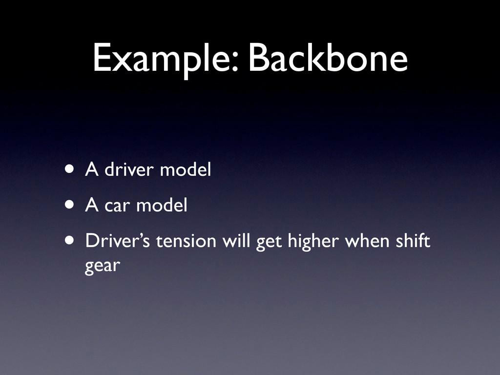 Example: Backbone • A driver model • A car mode...