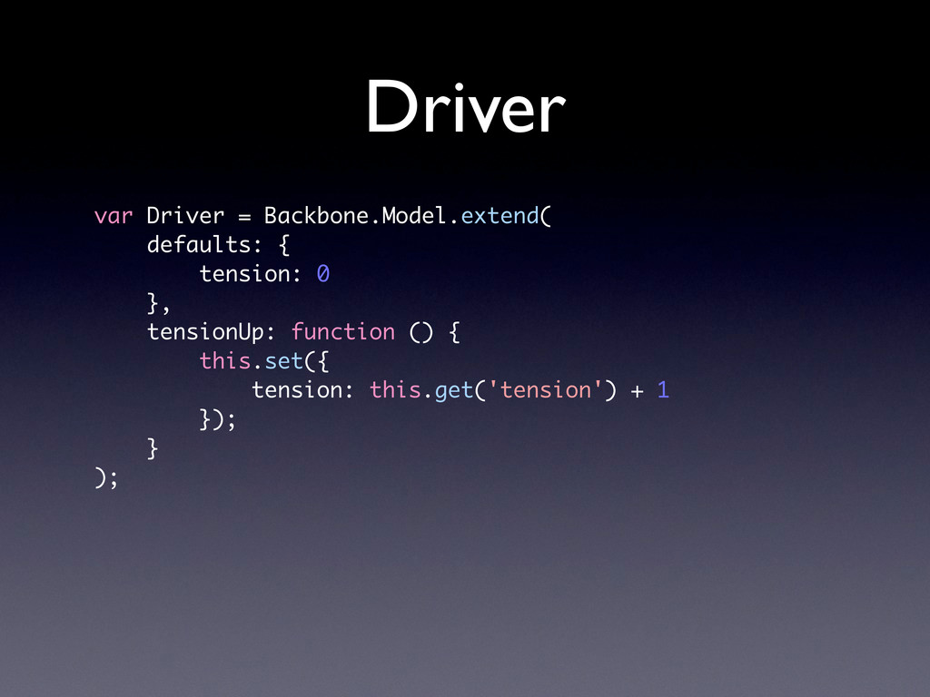 Driver var Driver = Backbone.Model.extend( defa...