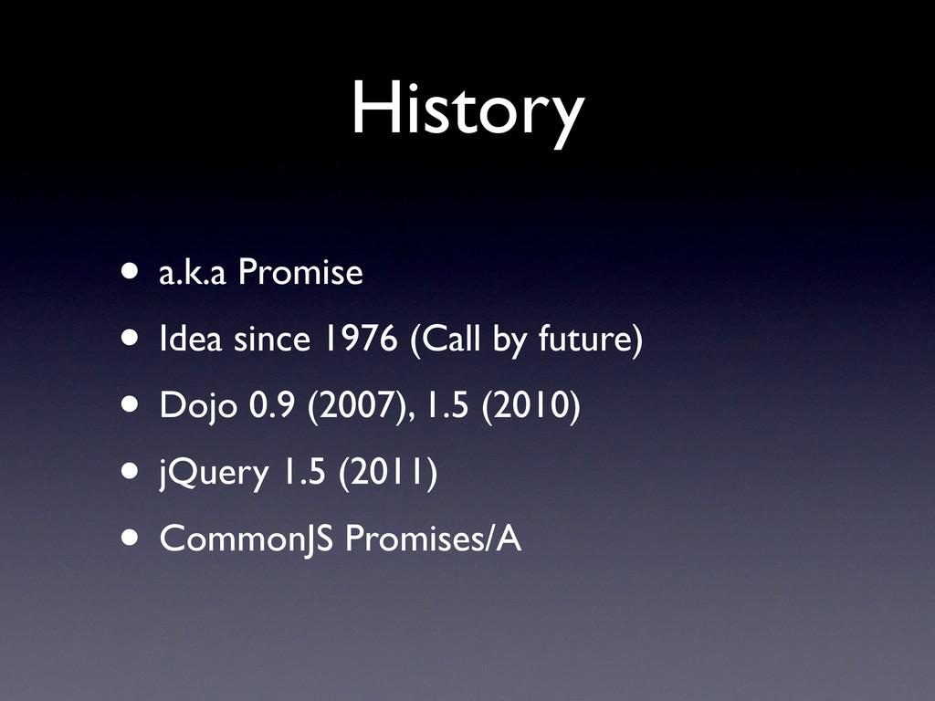 History • a.k.a Promise • Idea since 1976 (Call...