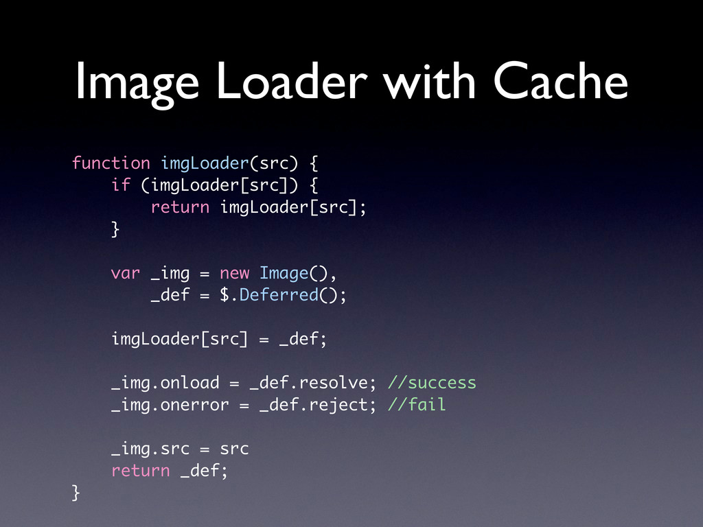 Image Loader with Cache function imgLoader(src)...