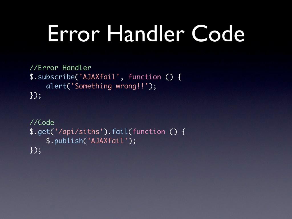 Error Handler Code //Error Handler $.subscribe(...
