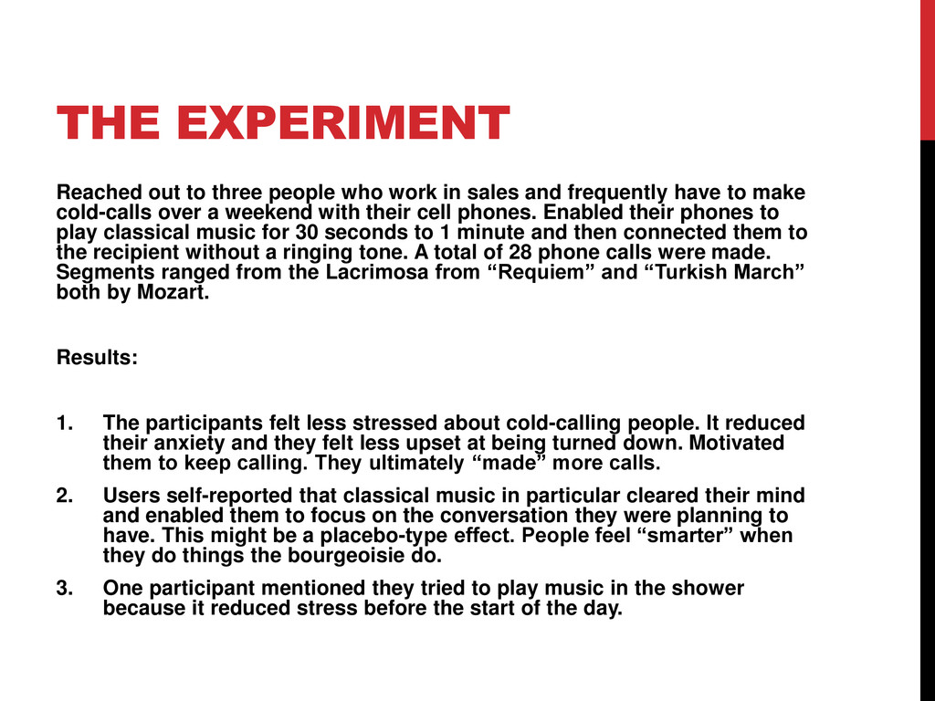 THE EXPERIMENT Reached out to three people who ...
