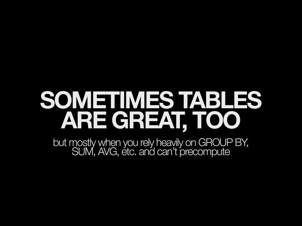 SOMETIMES TABLES ARE GREAT, TOO but mostly when...