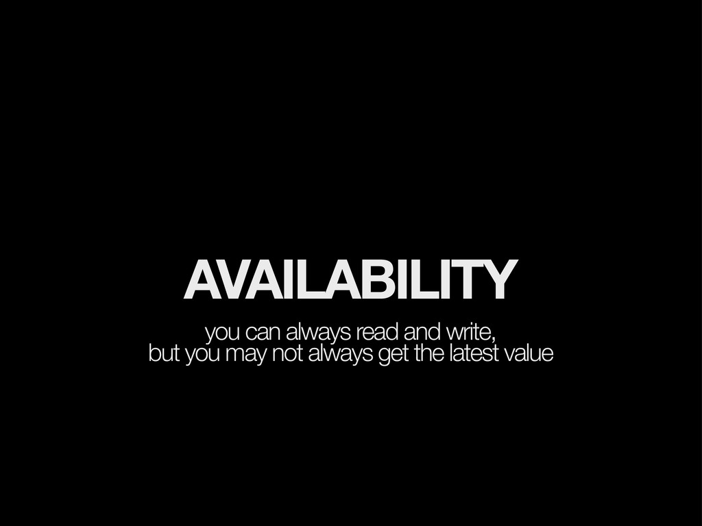 AVAILABILITY you can always read and write, but...