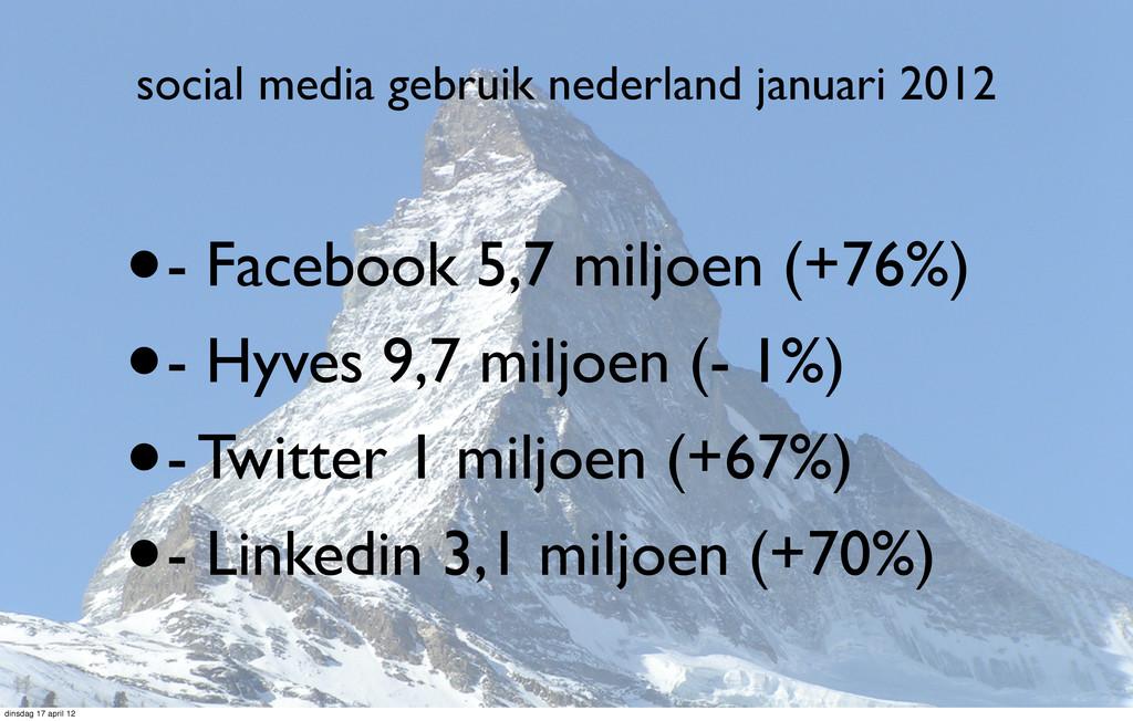 •- Facebook 5,7 miljoen (+76%) •- Hyves 9,7 mil...