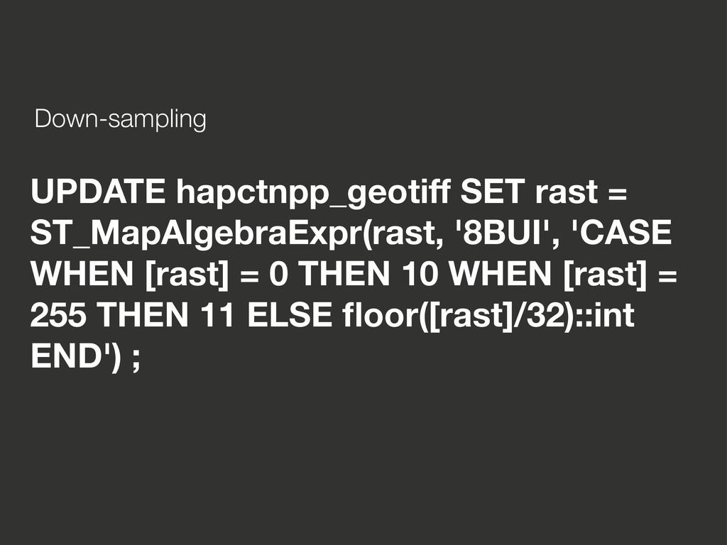 UPDATE hapctnpp_geotiff SET rast = ST_MapAlgebr...