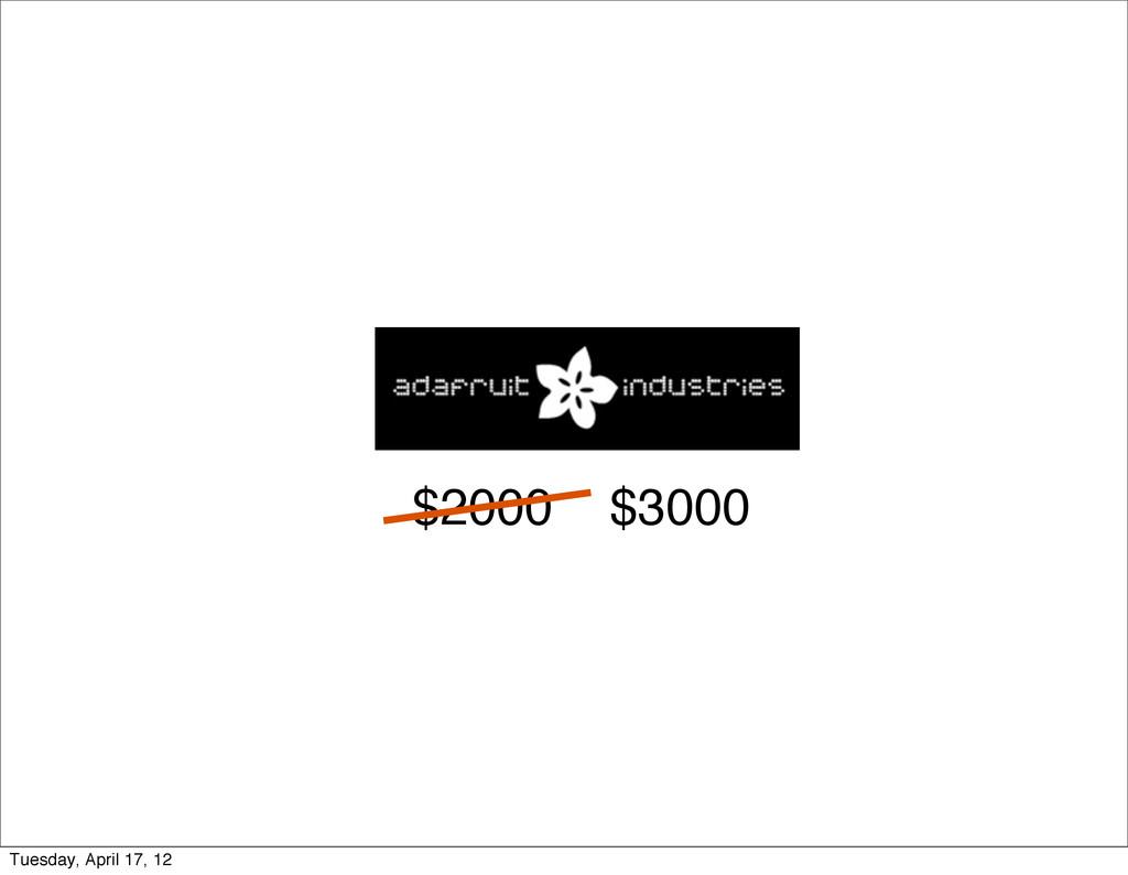 $2000 $3000 Tuesday, April 17, 12
