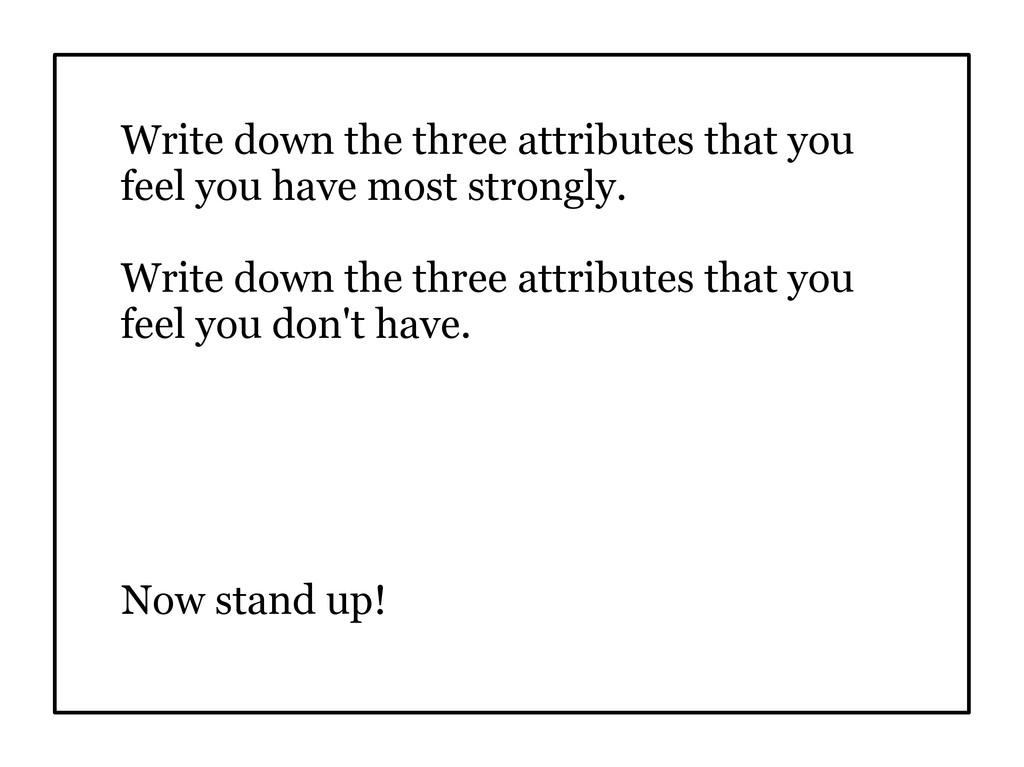 Write down the three attributes that you feel y...