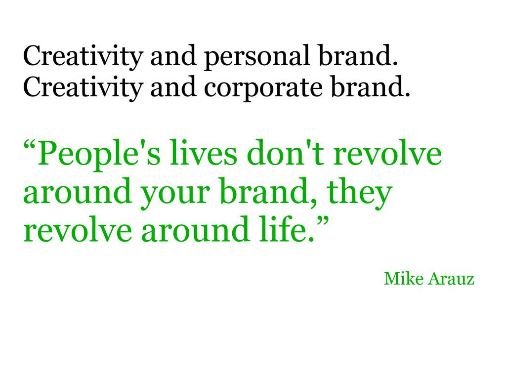 Creativity and personal brand. Creativity and c...
