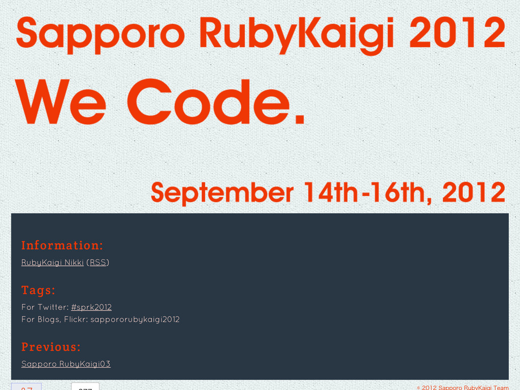 Information: RubyKaigi Nikki (RSS) Tags: For Tw...