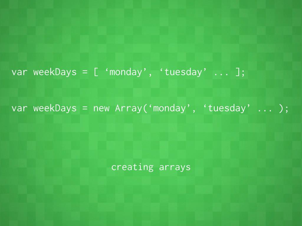 var weekDays = [ 'monday', 'tuesday' ... ]; var...