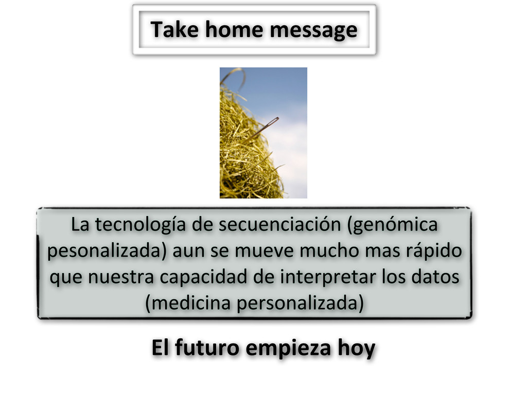 Take home message La tecnología de...
