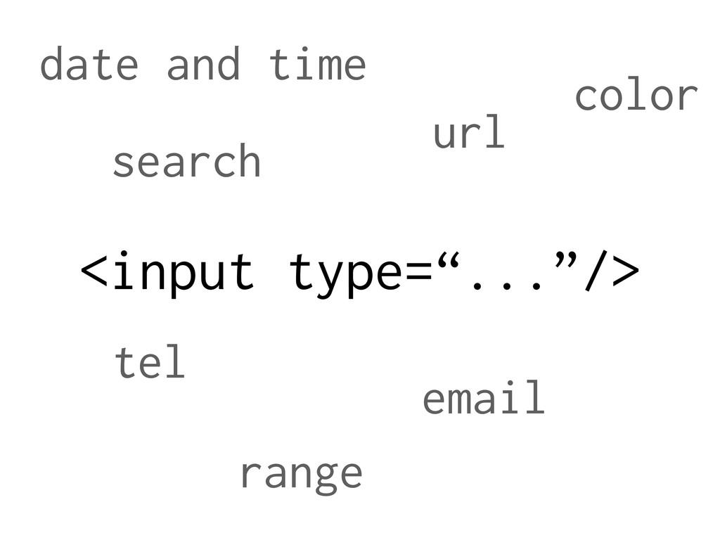 "<input type=""...""/> tel url email range date an..."