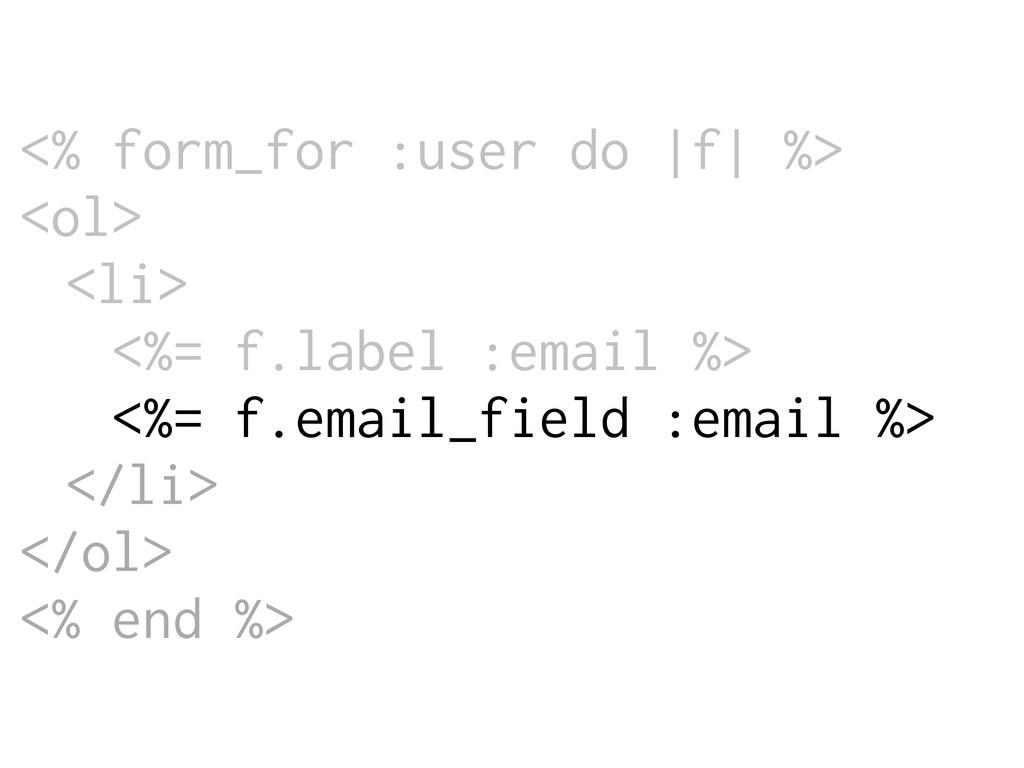 <% form_for :user do |f| %> <ol> <li> <%= f.lab...