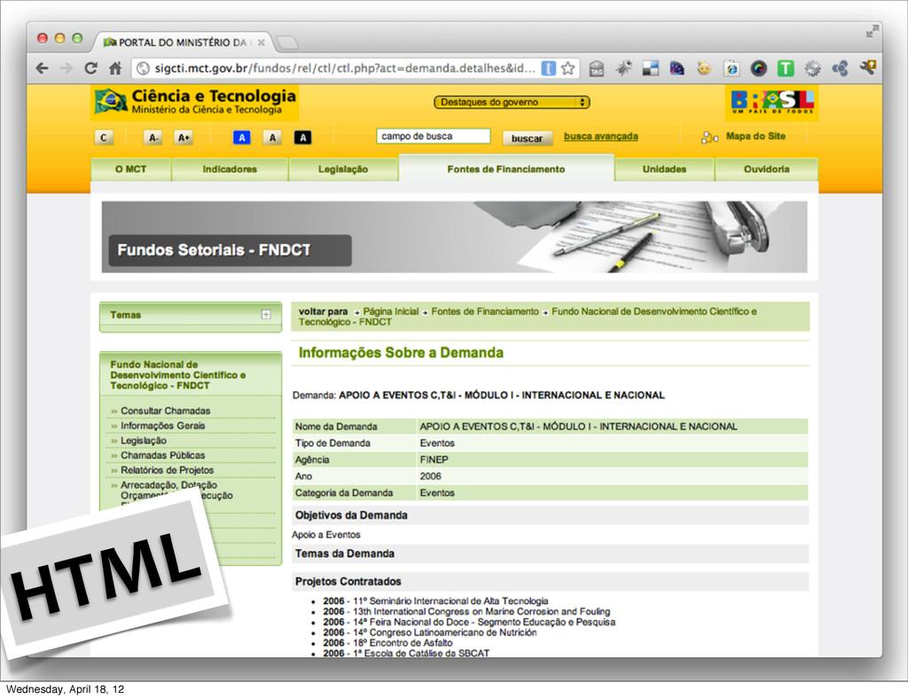 HTML Wednesday, April 18, 12