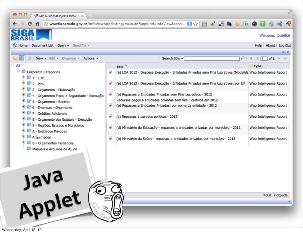 Java  Applet Wednesday, April 18, 12