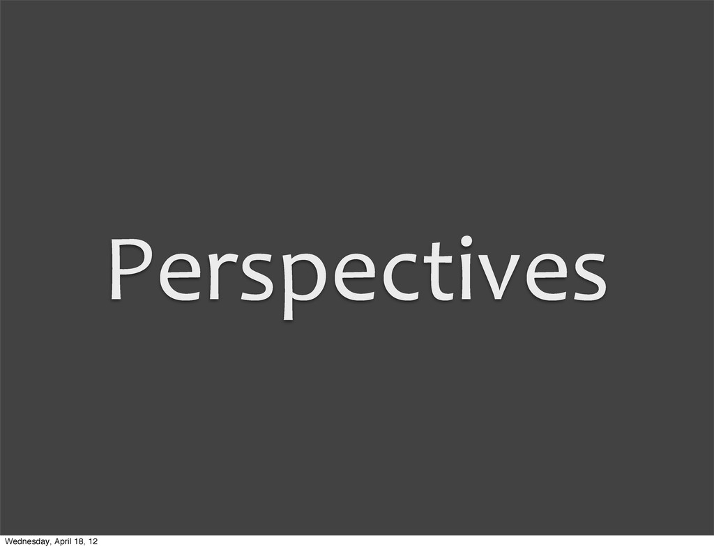 Perspectives Wednesday, April 18, 12