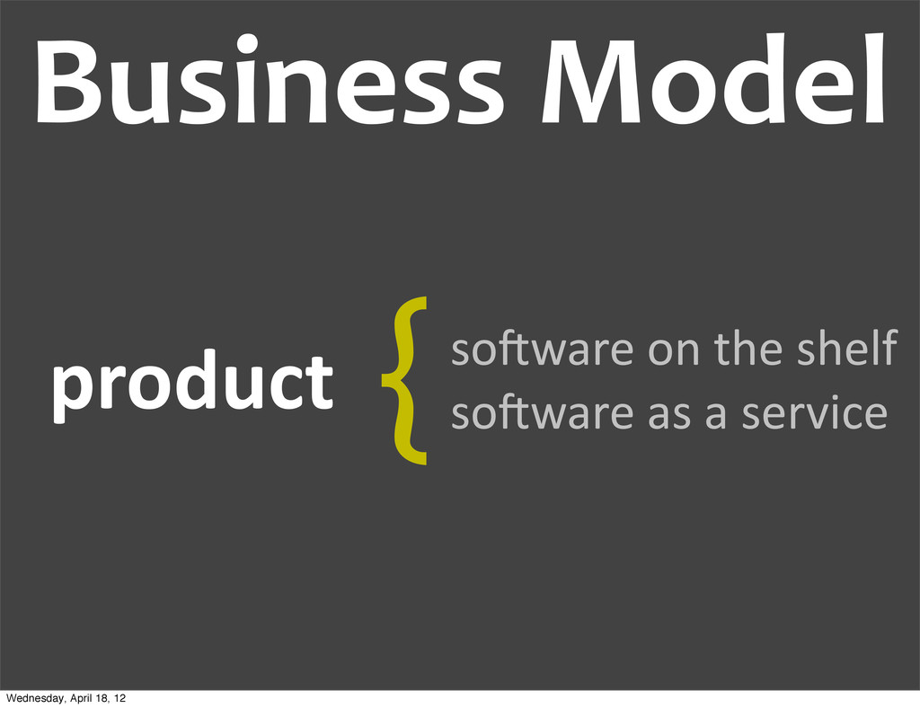 Business Model  product  so@ware on...