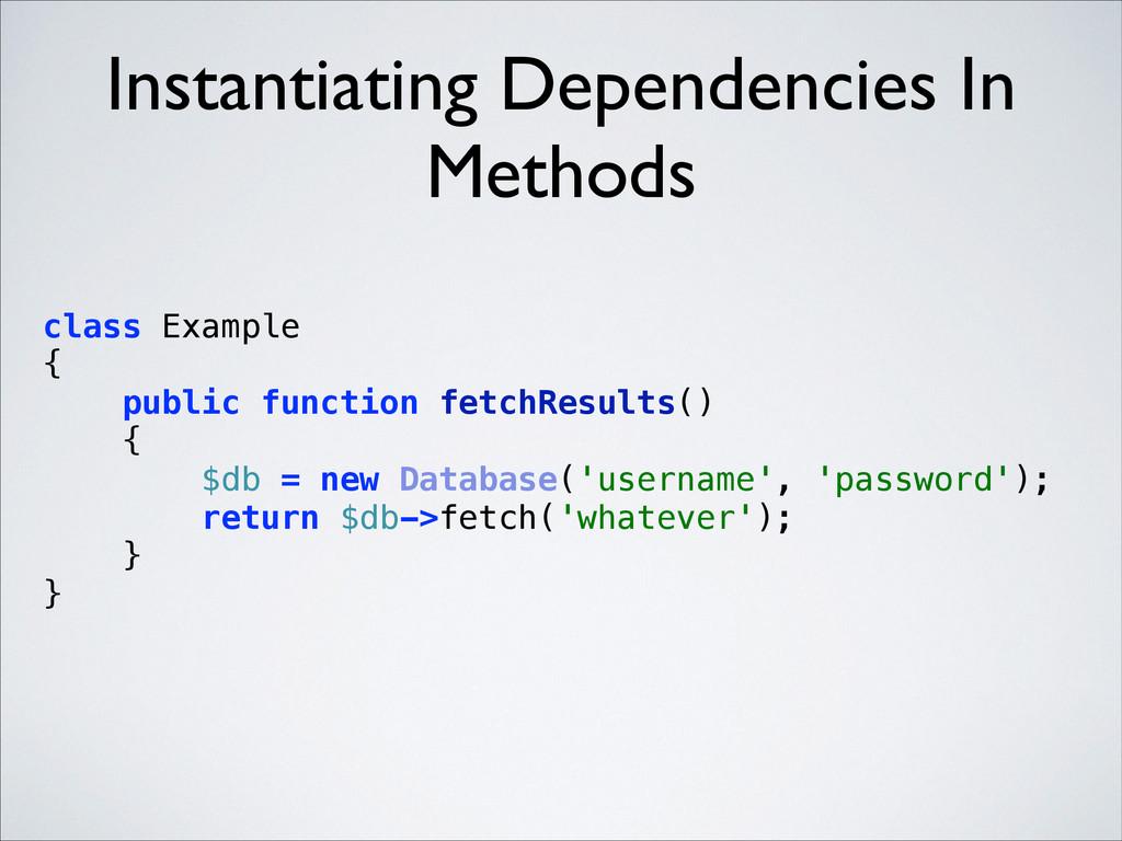 Instantiating Dependencies In Methods class Exa...