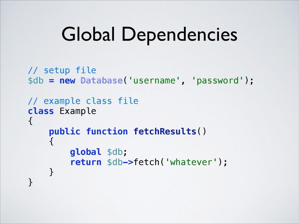 Global Dependencies // setup file $db = new Da...