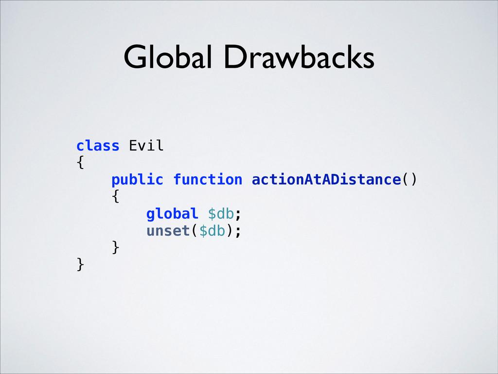 Global Drawbacks class Evil { public function...