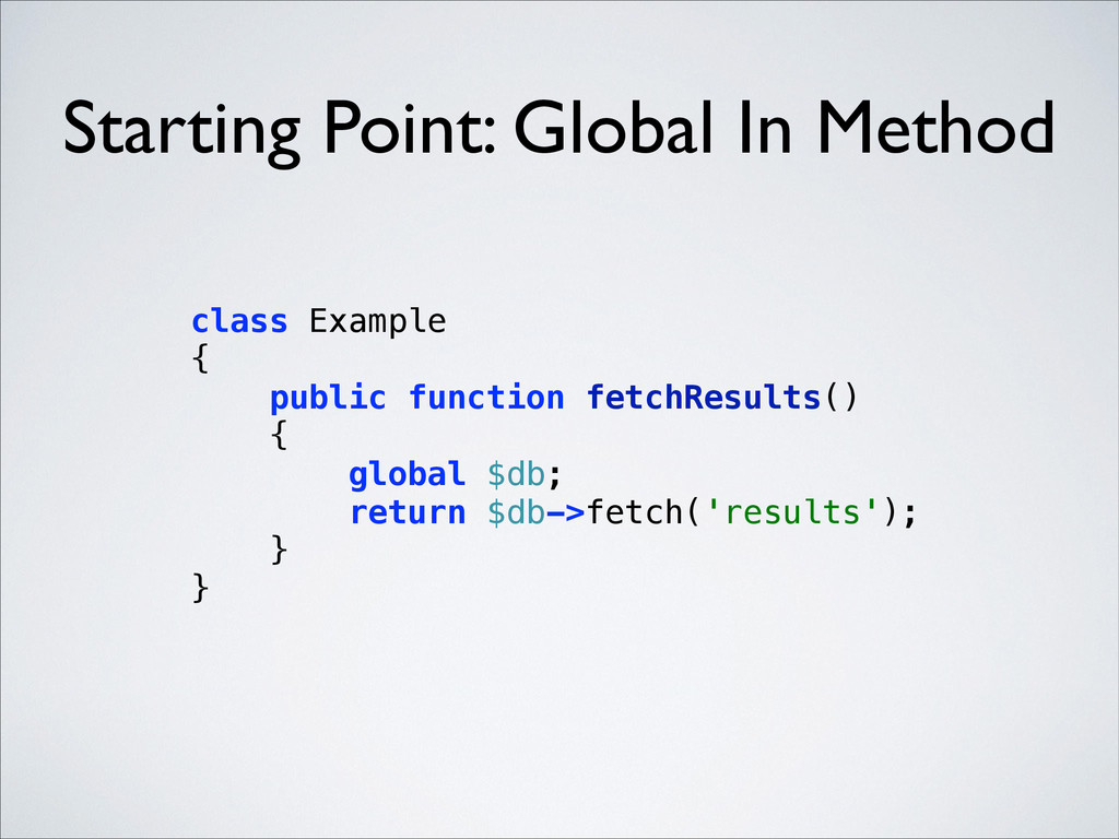 Starting Point: Global In Method class Example...