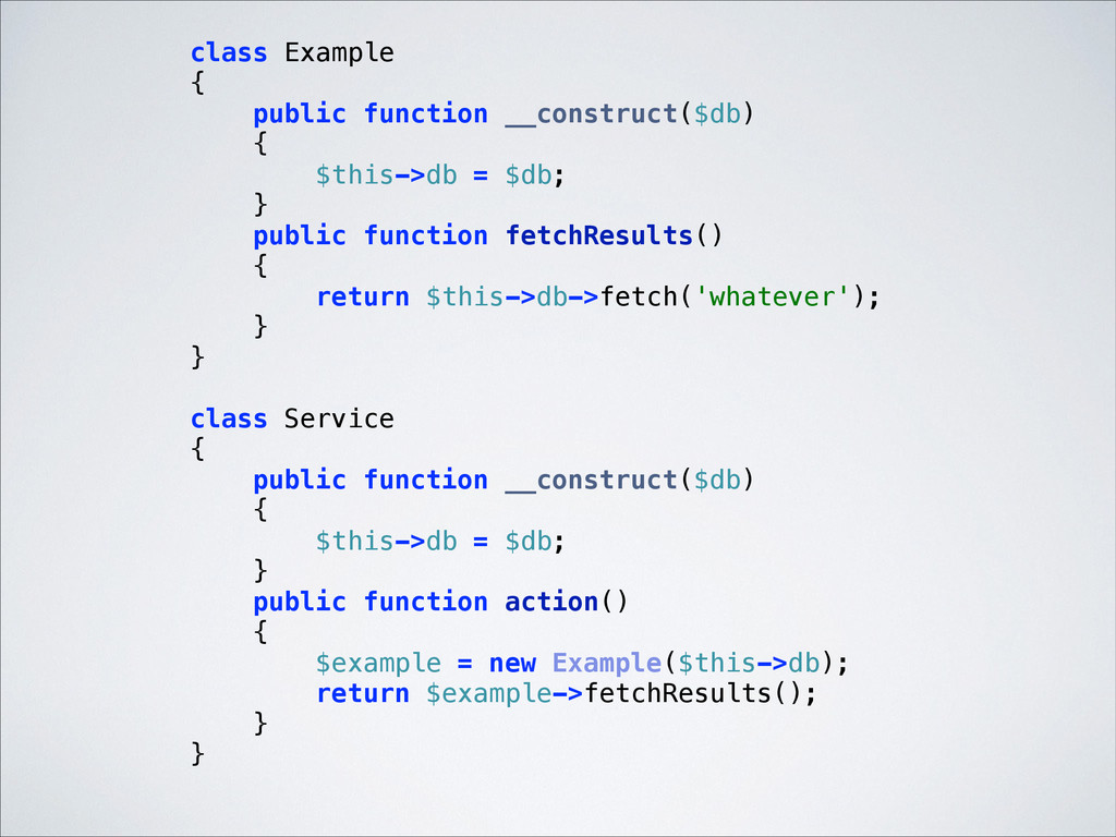 class Example { public function __construct($...