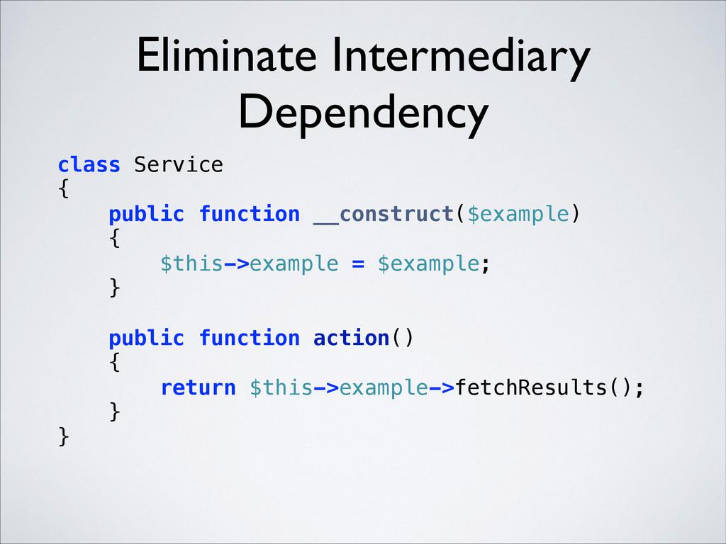 Eliminate Intermediary Dependency class Service...