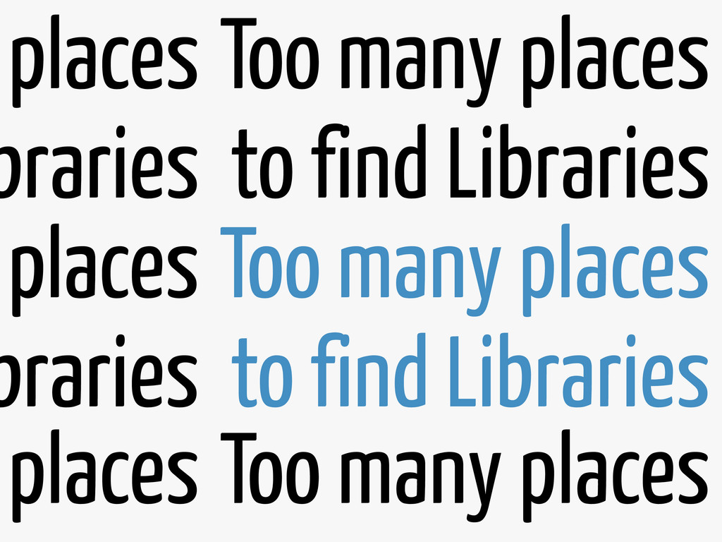 Too many places to find Libraries Too many plac...
