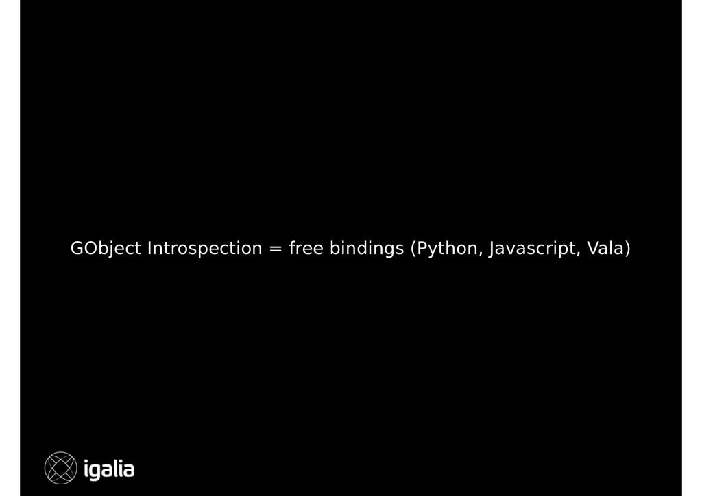 GObject Introspection = free bindings (Python, ...
