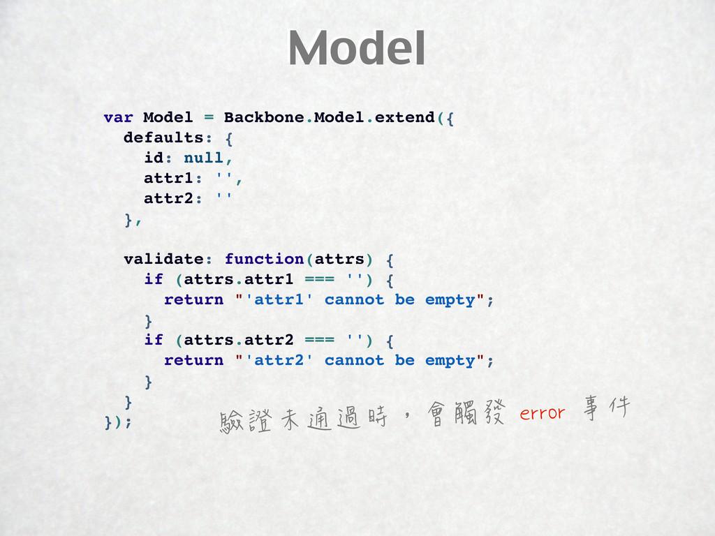 Model var Model = Backbone.Model.extend({ defau...