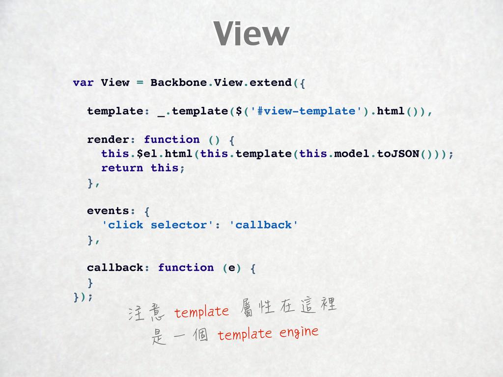 View var View = Backbone.View.extend({ template...