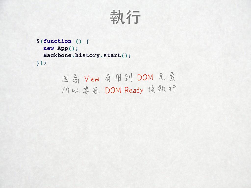 執行 $(function () { new App(); Backbone.history....