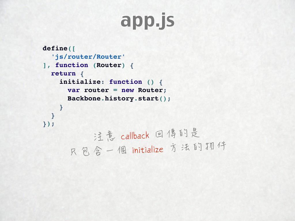 app.js define([ 'js/router/Router' ], function ...