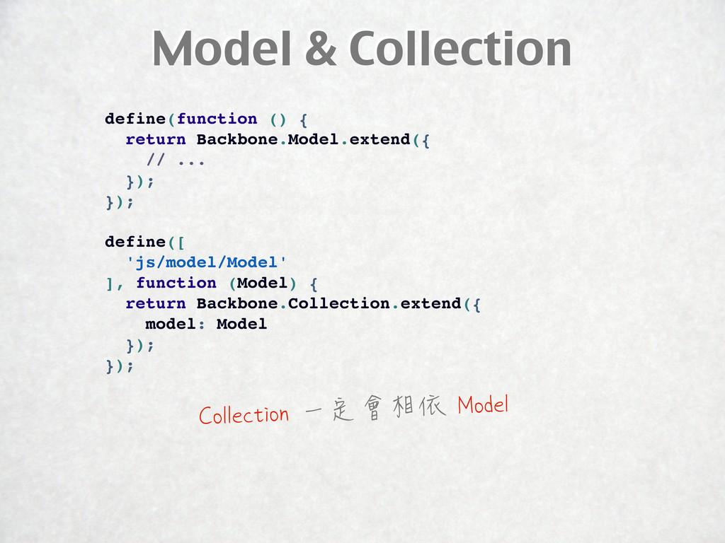 Model & Collection define(function () { return ...