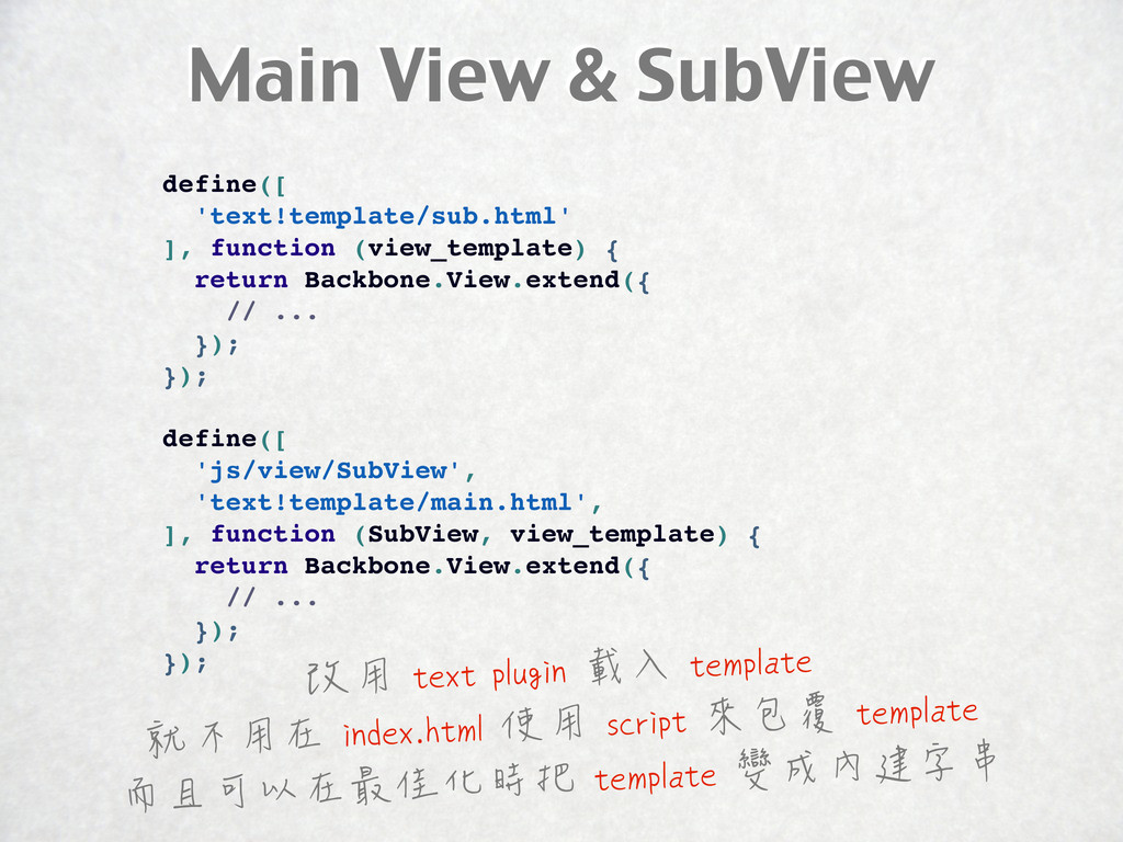 Main View & SubView define([ 'text!template/sub...