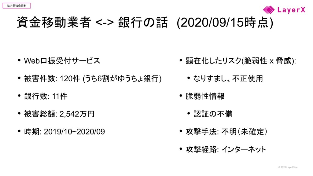 © 2020 LayerX Inc. 社内勉強会資料 資金移動業者 <-> 銀行の話 (202...