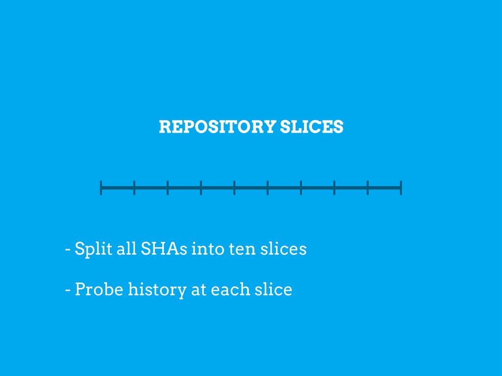 REPOSITORY SLICES - Split all SHAs into ten sli...
