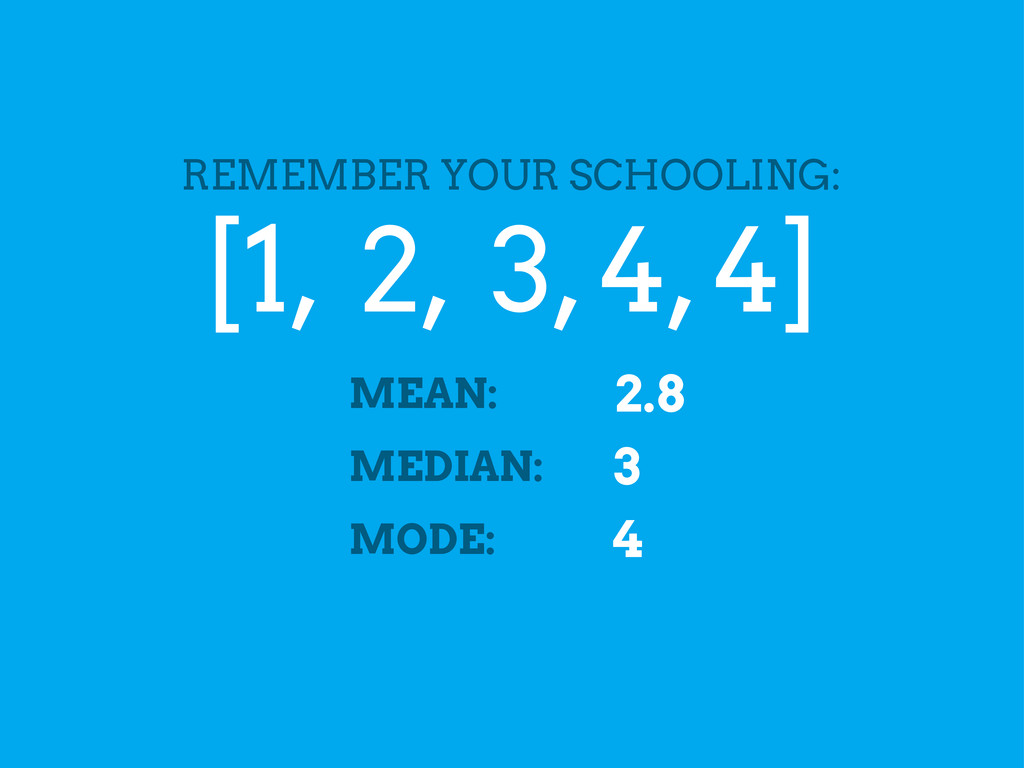 [1, 2, 3, 4, 4] REMEMBER YOUR SCHOOLING: MEAN: ...