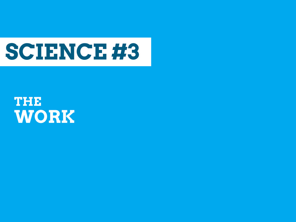 SCIENCE #3 THE WORK