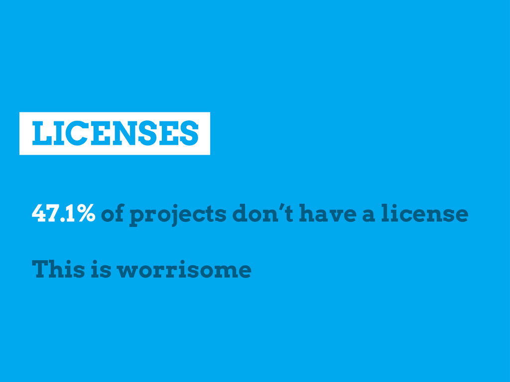 LICENSES 47.1% of projects don't have a license...